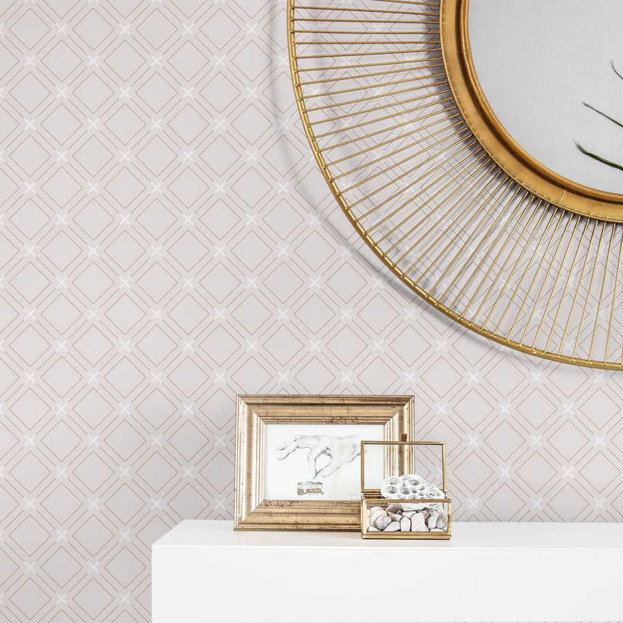 Neutral pink color removable wallpaper with geometric tile design