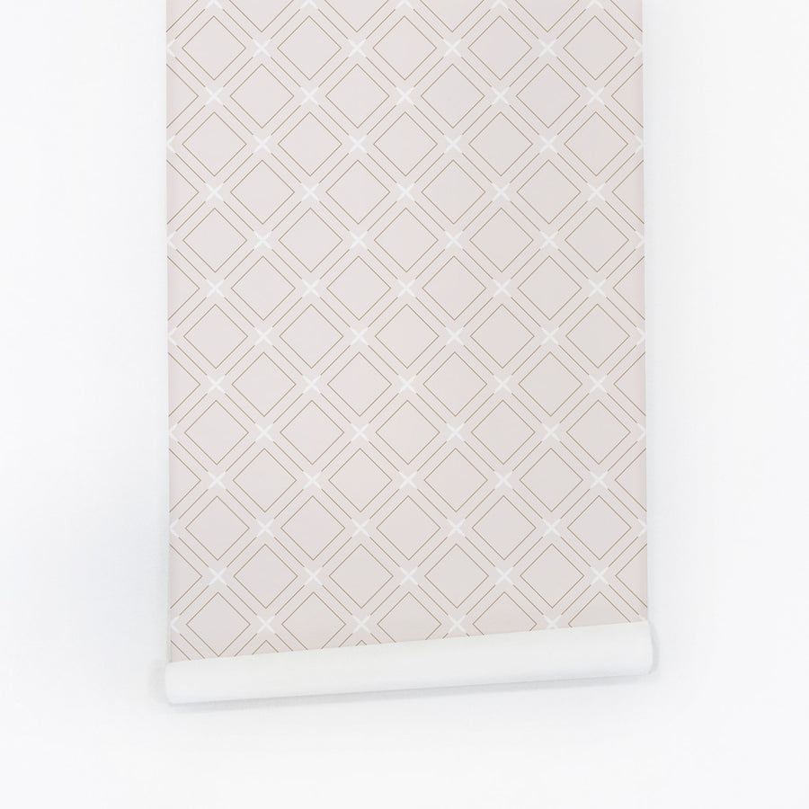 Nude pink color geometric removable wallpaper