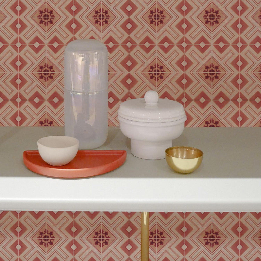 Pink moroccan tile wallpaper in modern boho kitchen interior shelf