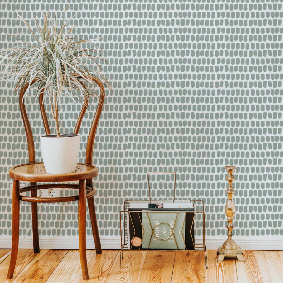Sage green removable wallpaper in bohemian style home interior