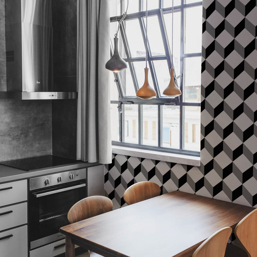 Dark grey kitchen interior with geometric cubes design accent wall