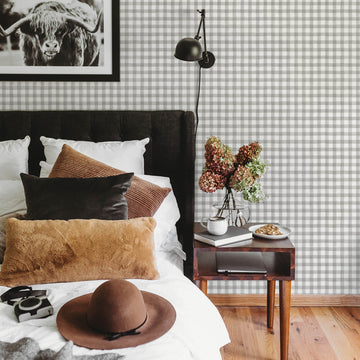 Watercolor buffalo check removable wallpaper in grey