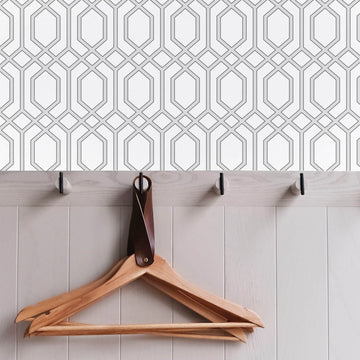 Light grey lattice print removable wallpaper