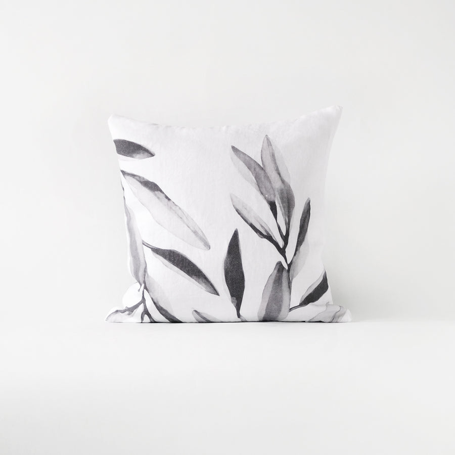 Grey floral throw pillow