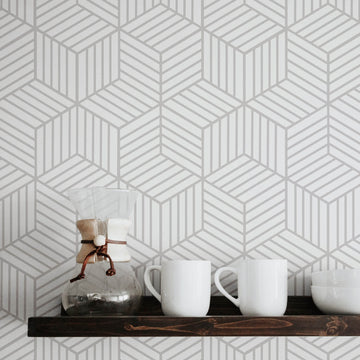 Light grey geometric cube design removable wallpaper