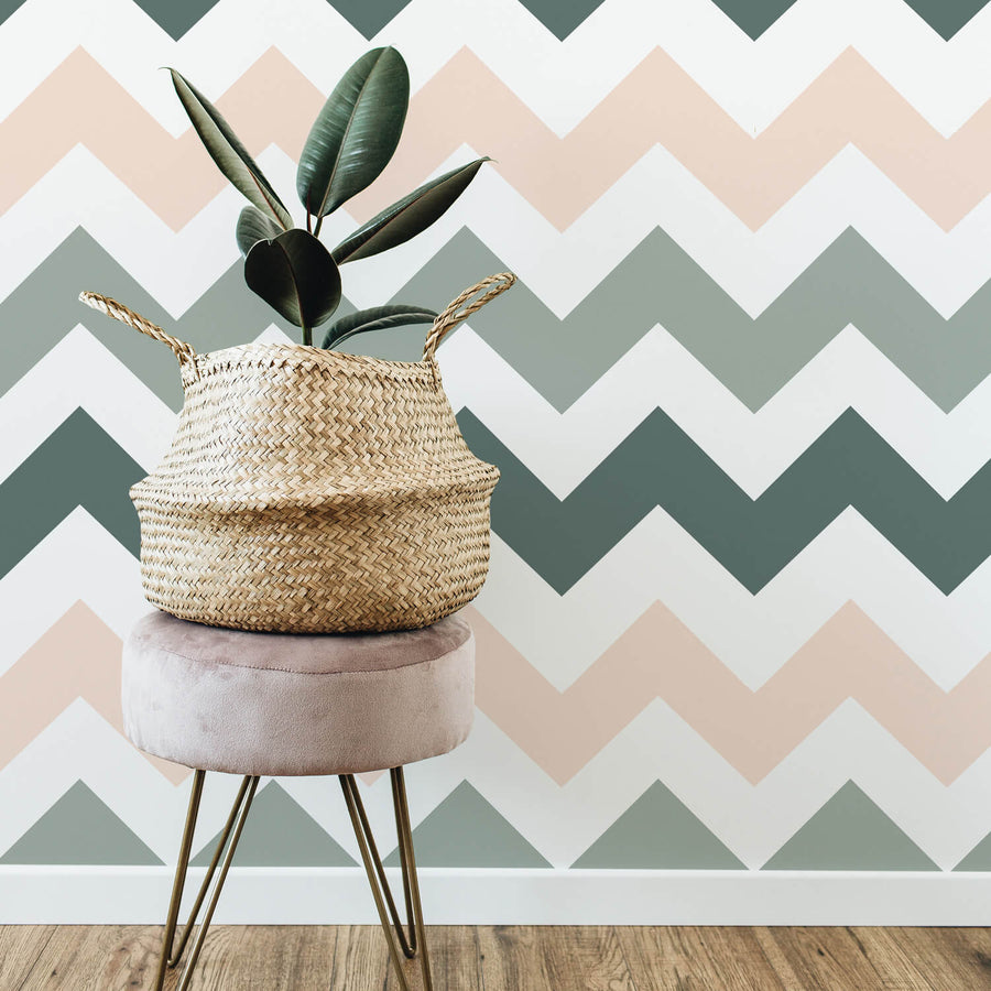 Pale pink and green chevron removable wallpaper