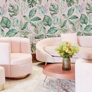 Palm Springs living room interior with pink velvet sofa and tropical removable wallpaper
