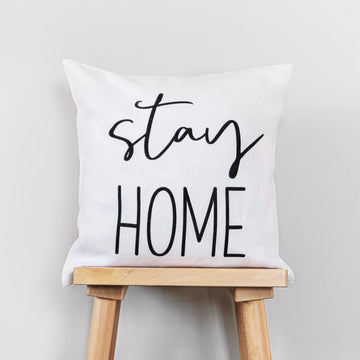 Stay Home print washed linen cushion cover