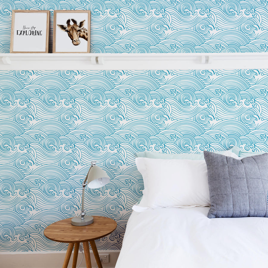 Beach Waves Removable Wallpaper Nautical Theme Wallpaper By Livettes
