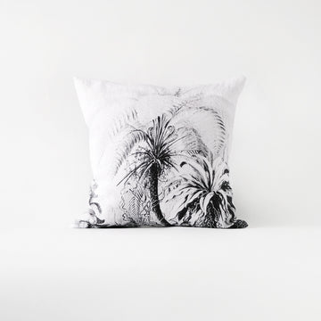 Black and white tropical pillow cover