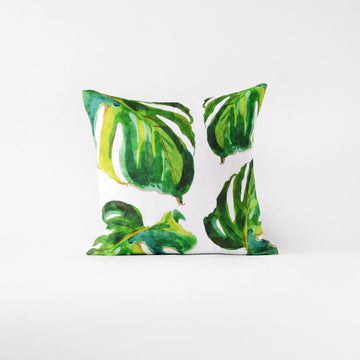 Monstera leaf throw pillow