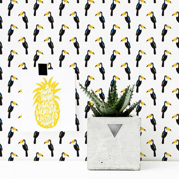 Modern toucan pattern removable wallpaper
