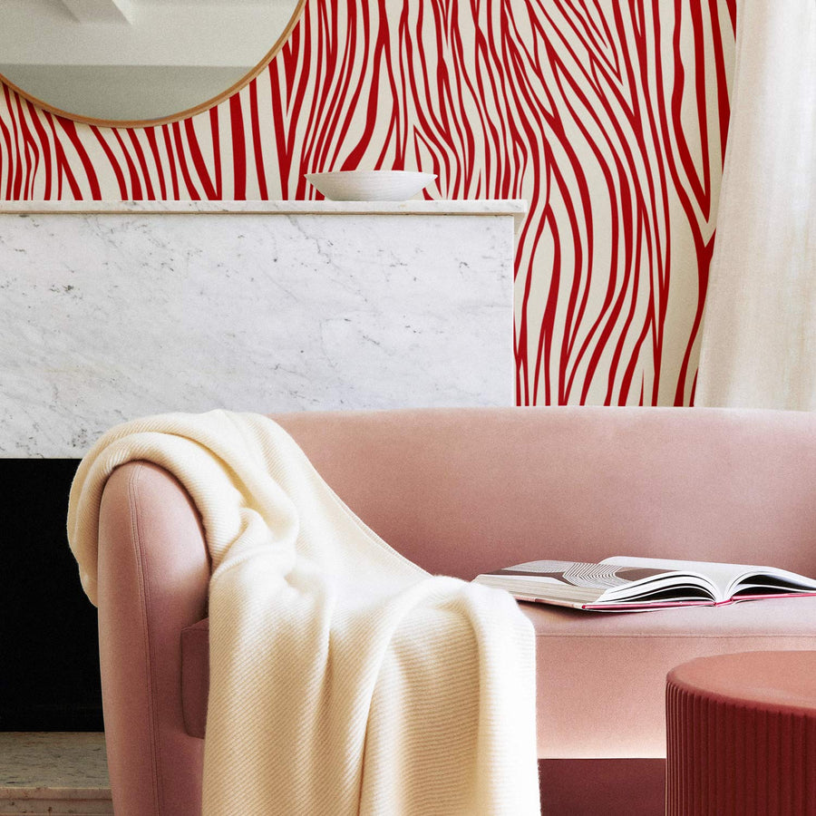 Zebra Rouge removable wallpaper