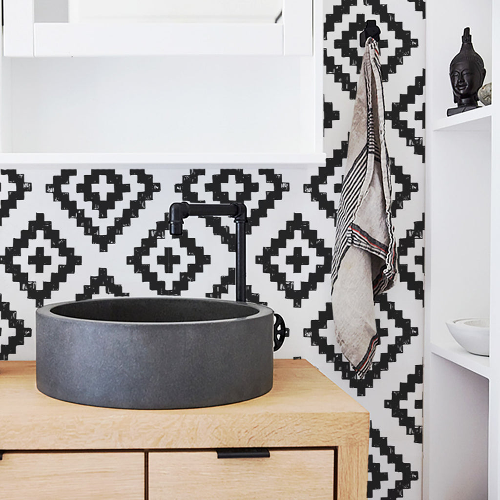 Black and white scandi boho self adhesive wallpaper