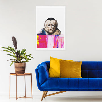 Eclectic interior decor with monkey art poster