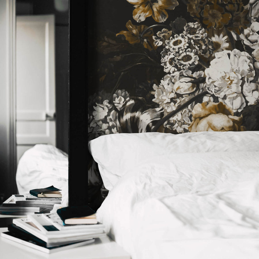Moody elegant floral wall mural in black and white bedroom interior