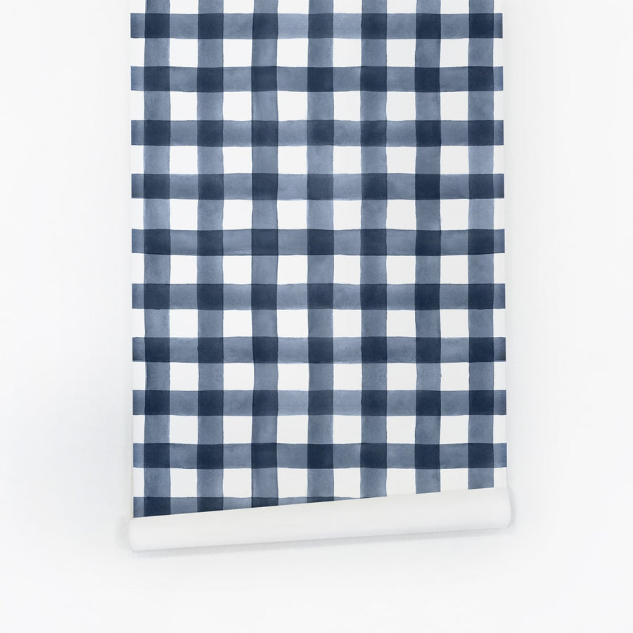 Blue watercolour gingham temporary wallpaper