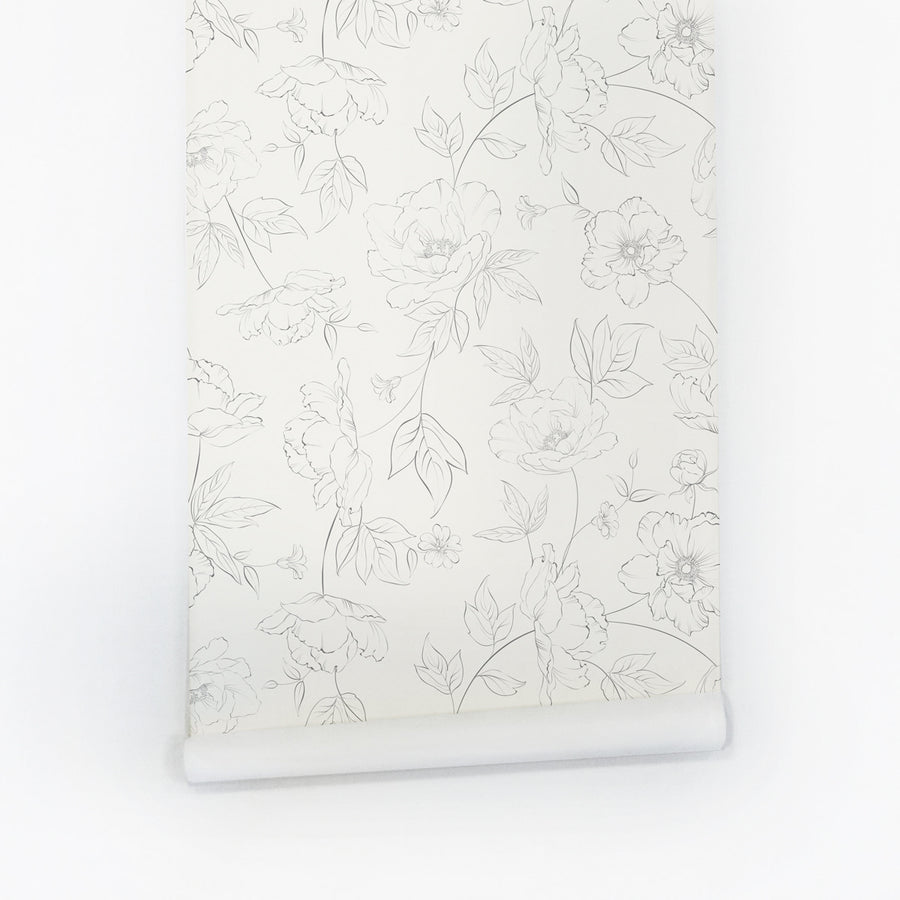 Monochrome flower pattern peel and stick wallpaper