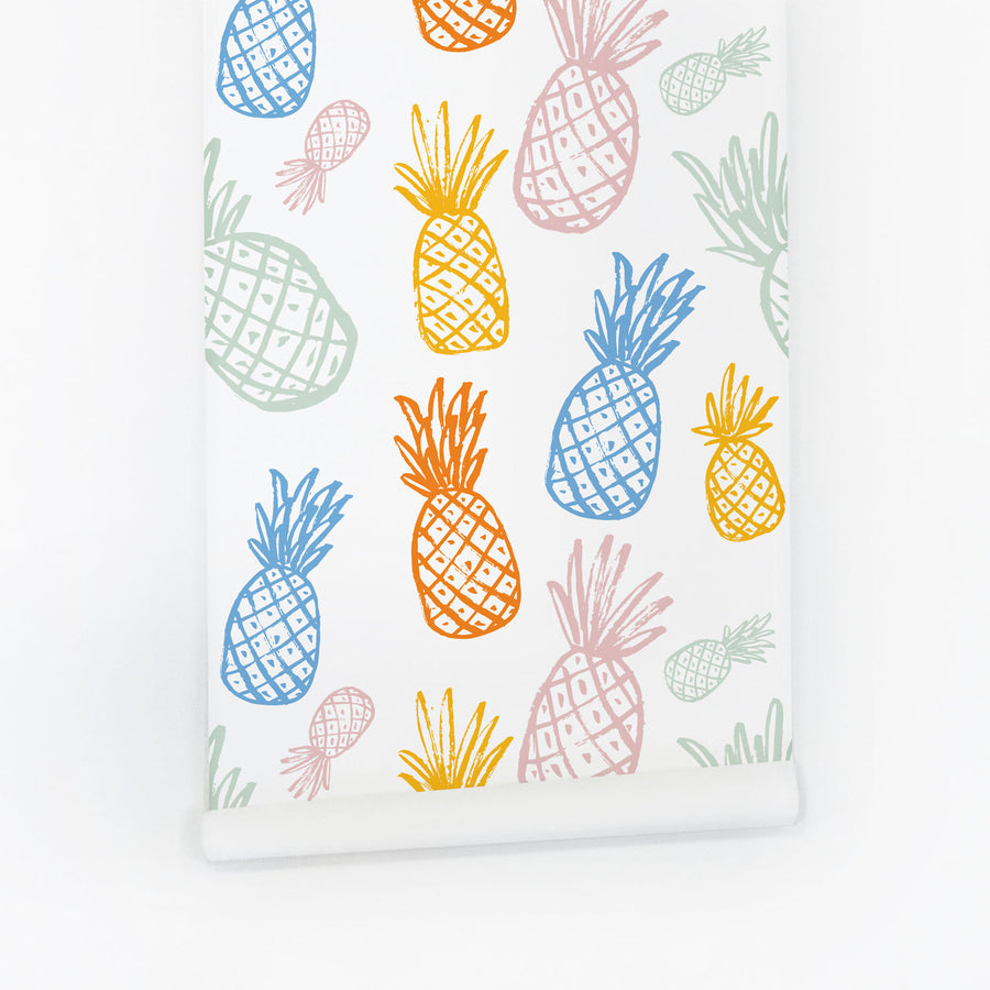 Eclectic pineapple pattern removable wallpaper