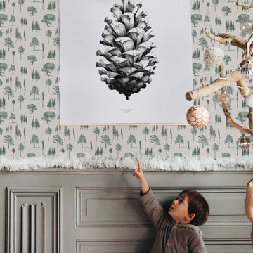 Vintage forest design removable wallpaper