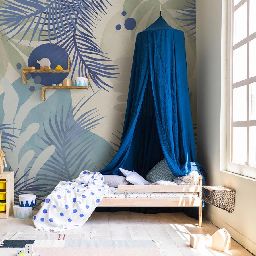 Abstract ocean theme wall mural in kids room interior with blue and light wood color palette