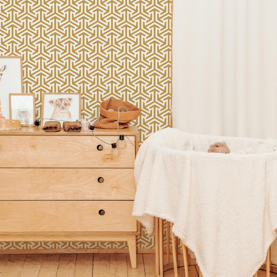 Neutral Retro design removable wallpaper in Ochre color