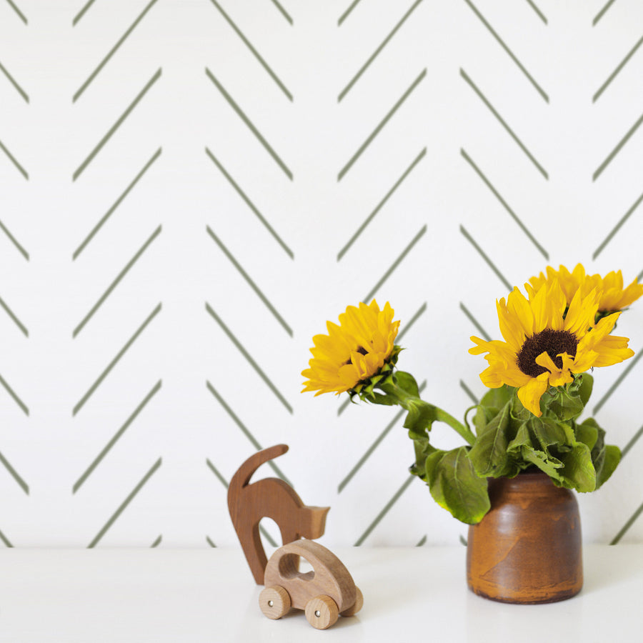 Green delicate herringbone nursery wallpaper