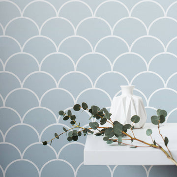 Blue Ombre scallops removable wallpaper