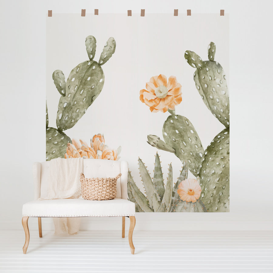 Oversized cactus wall mural in nursery interior