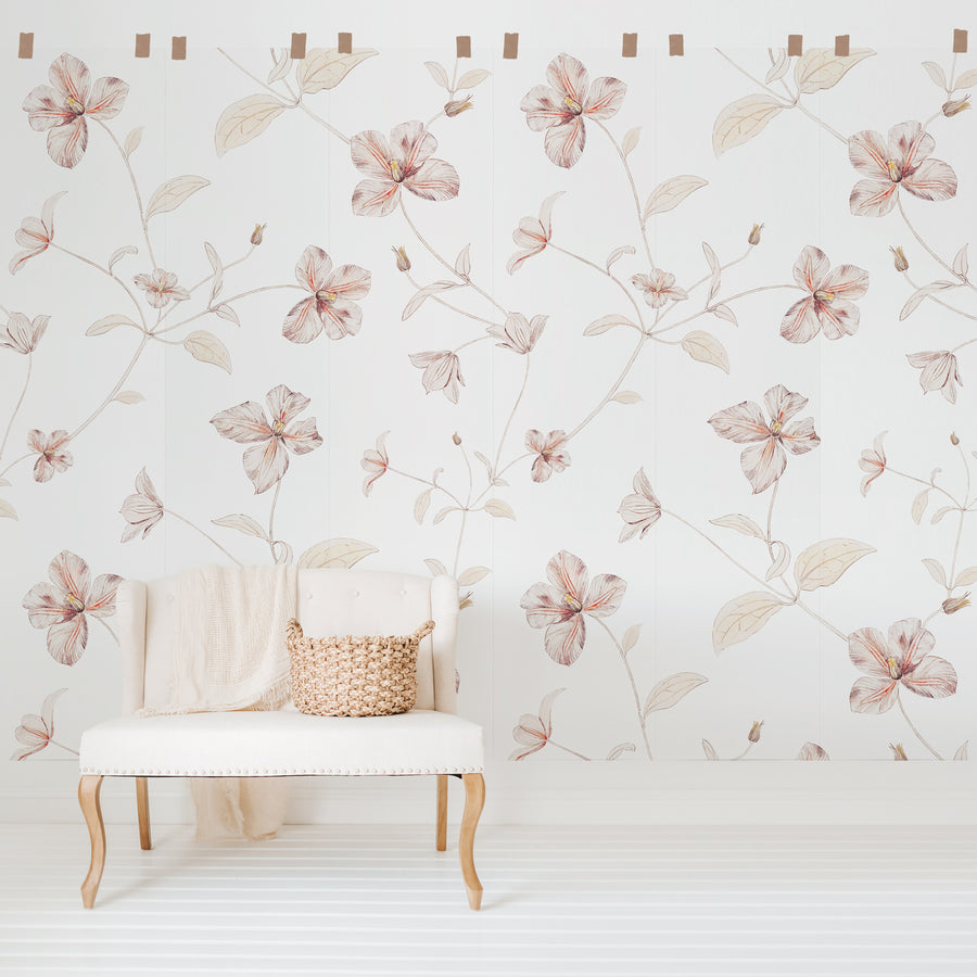 Pink floral design wall mural for minimal chic bohemian interiors