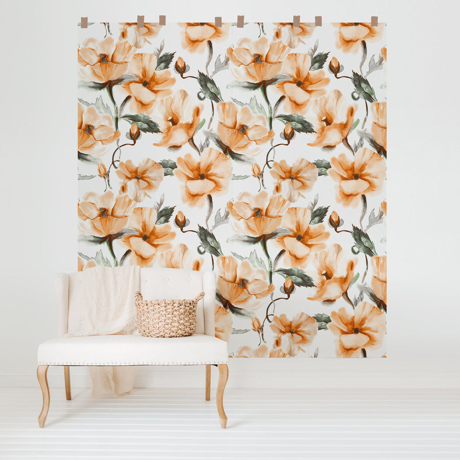 Warm floral design removable wallpaper for nursery interior
