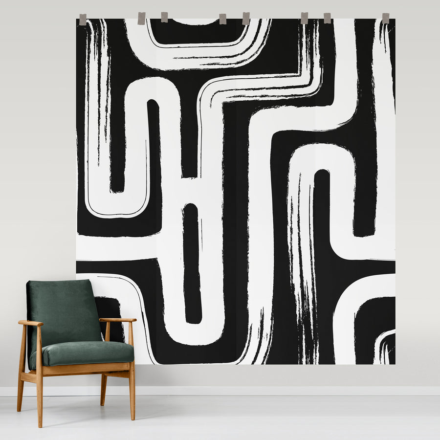 Oversized paint brush design wall mural