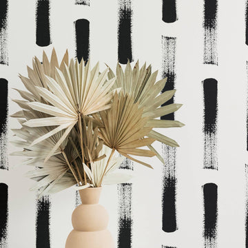 Abstract brush stroke design removable wallpaper in bohemian style interior
