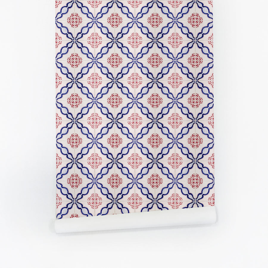 Oriental tiles removable wallpaper roll