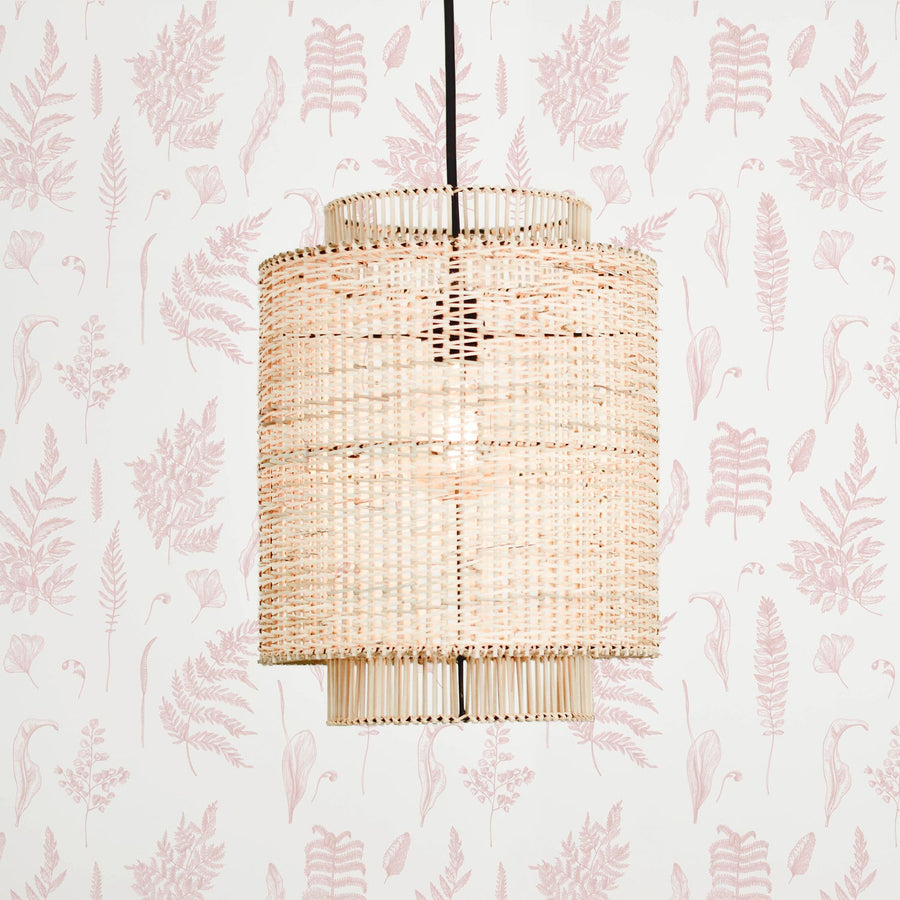 Light pink fern design removable wallpaper in modern bohemian nursery interior