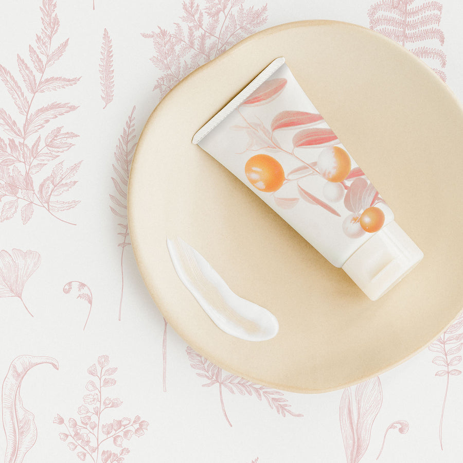 Delicate botanical design removable wallpaper with ferns in light pink color for nursery interiors