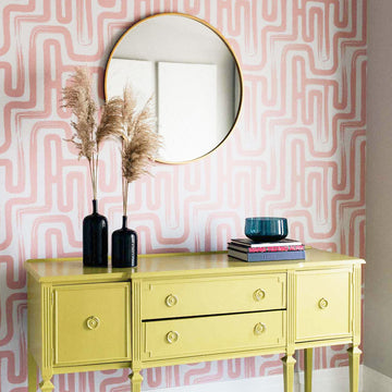 Pink Paintbrush Maze removable wallpaper