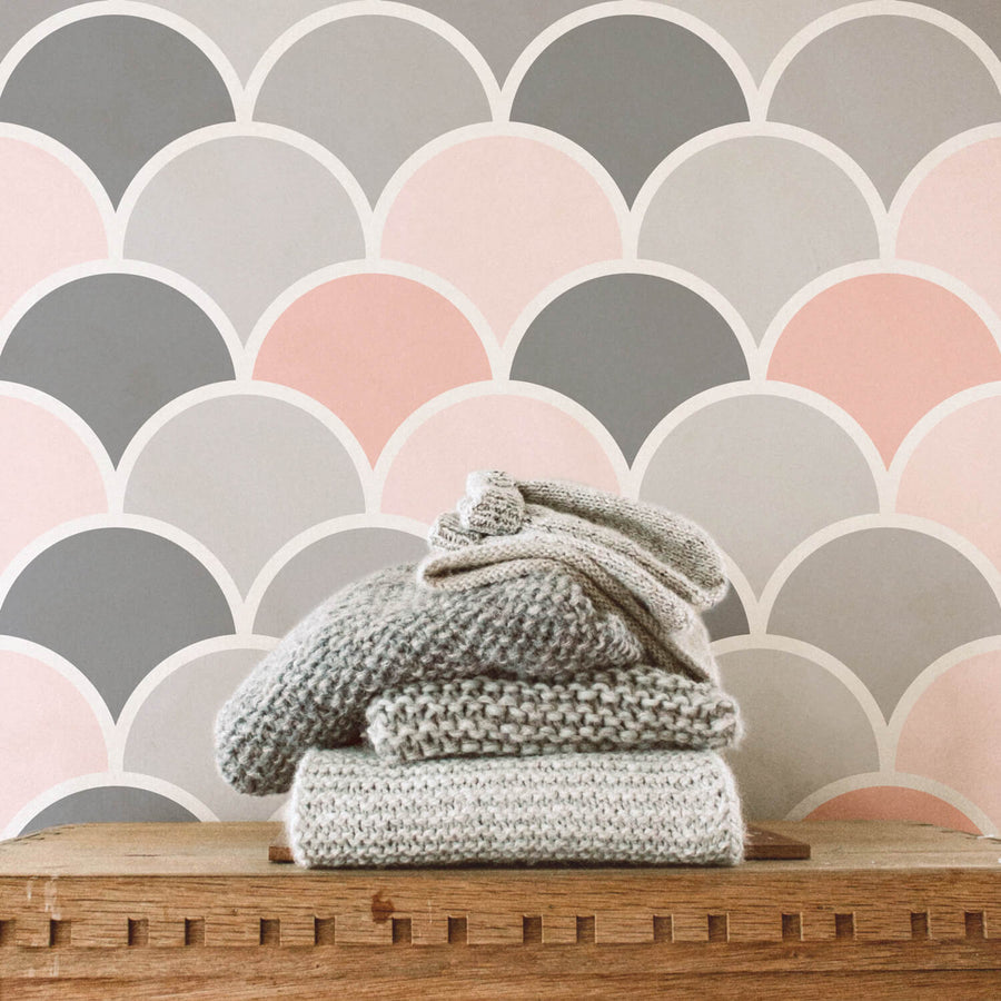 Modern pink scallop wallpaper for girl's room interior with bohemian decor