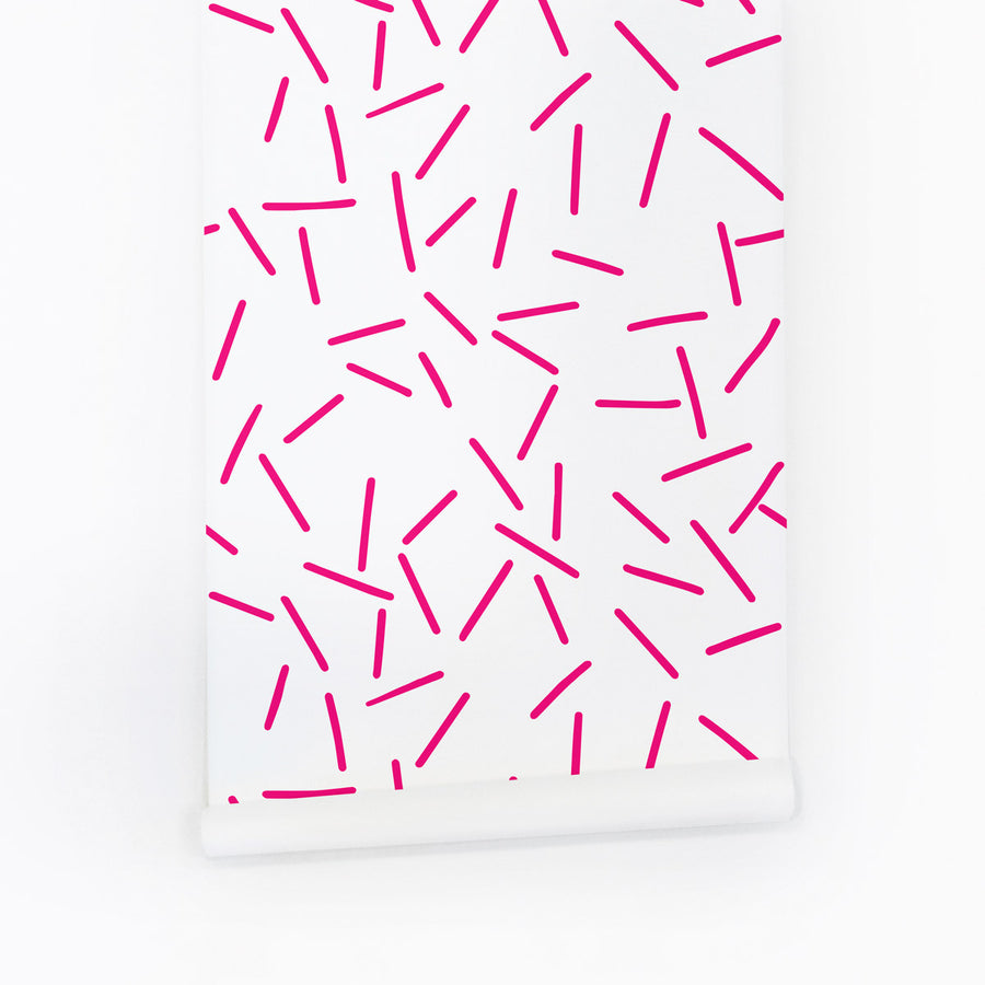 Pink memphis removable wallpaper