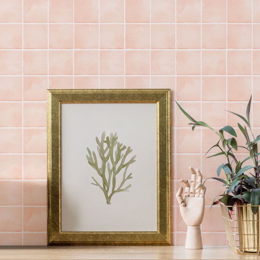 Light Coral Color Tiles Removable Wallpaper