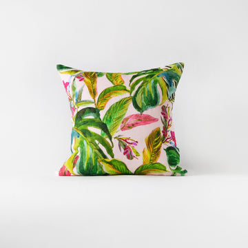 Pink tropical throw pillow