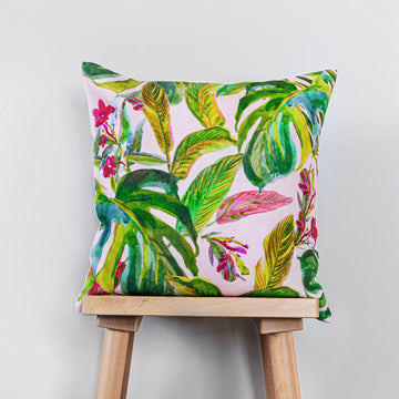 Pink tropical print washed linen cushion cover