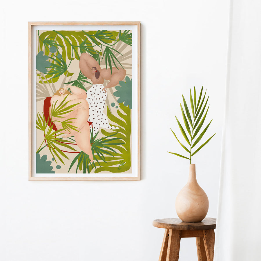 Green tropical art poster with nude ladies eclectic