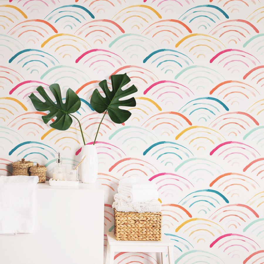 Rainbow scallop removable wallpaper in scandi boho powder room interior