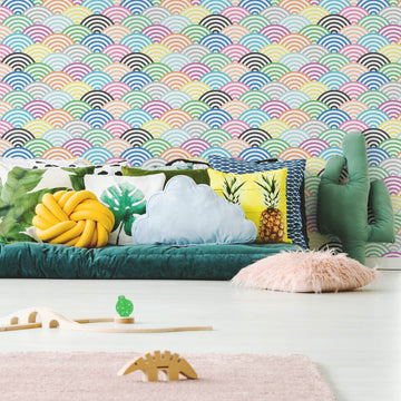 Colourful scallop removable wallpaper