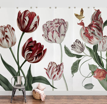 Dutch floral wall mural with antique red tulips in feminine living room interior