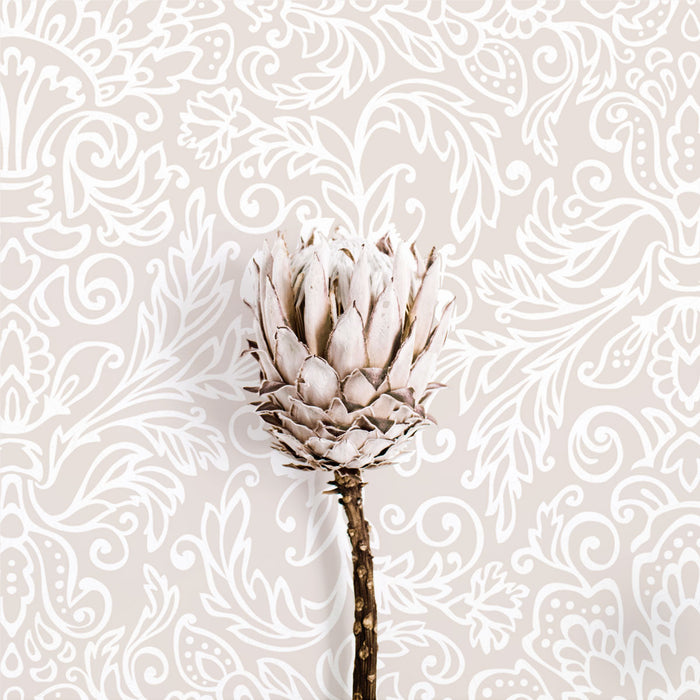 Pale pink floral imprint removable wallpaper