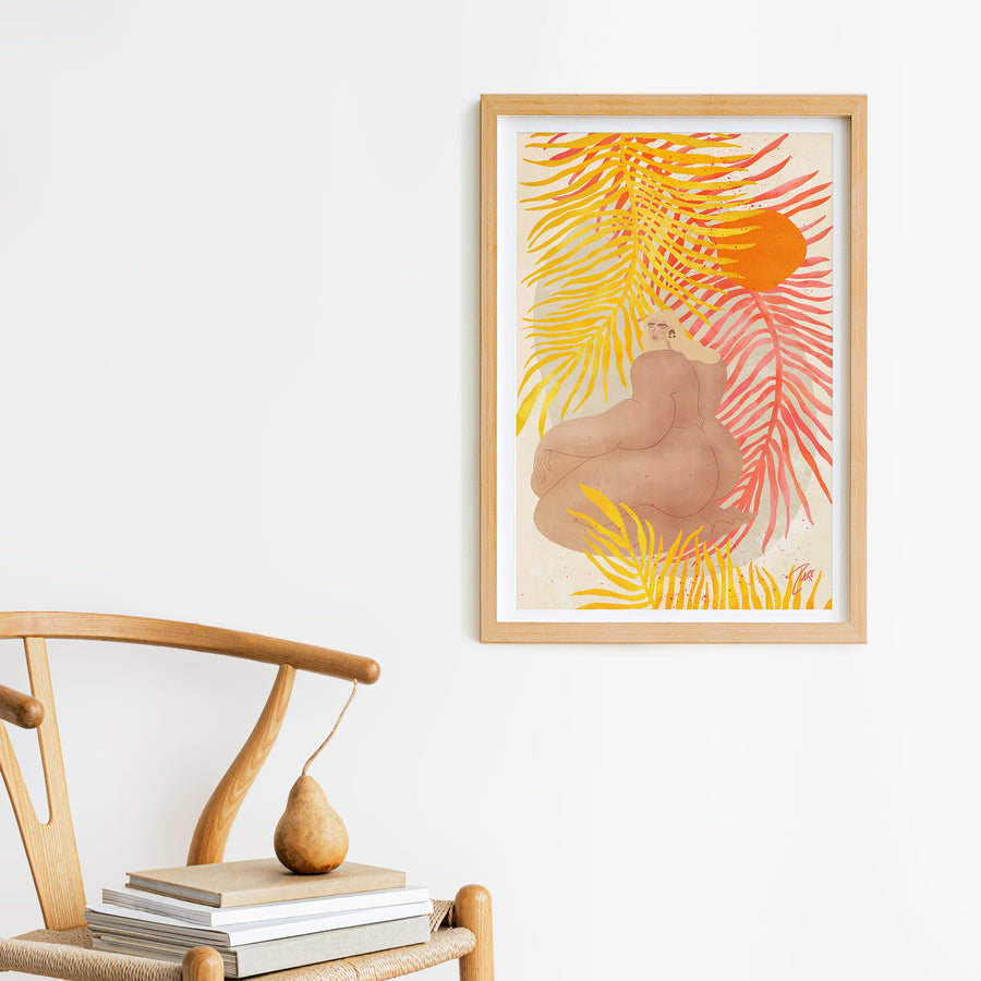 Nude art poster with tropical elements