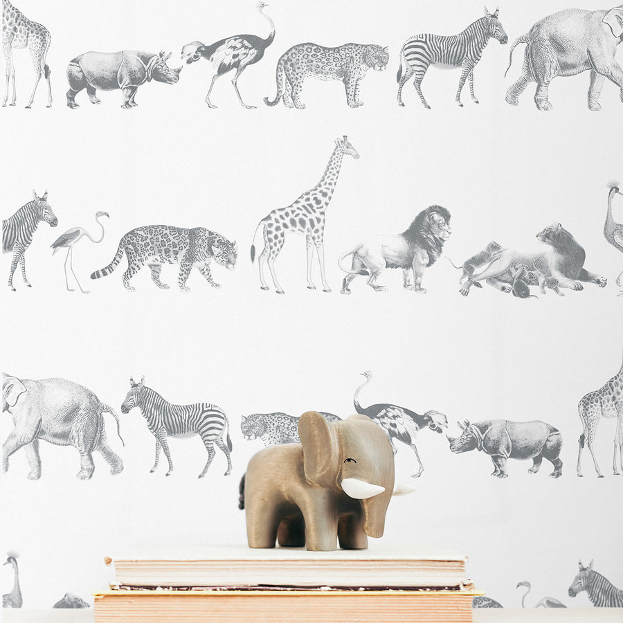 Vintage Safari animal print removable wallpaper in Grey Color
