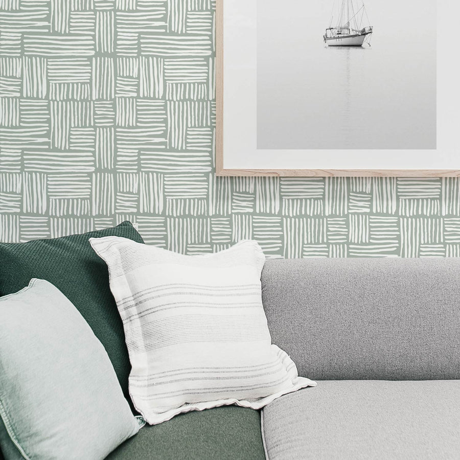 Modern plaid print removable wallpaper in Sage Color